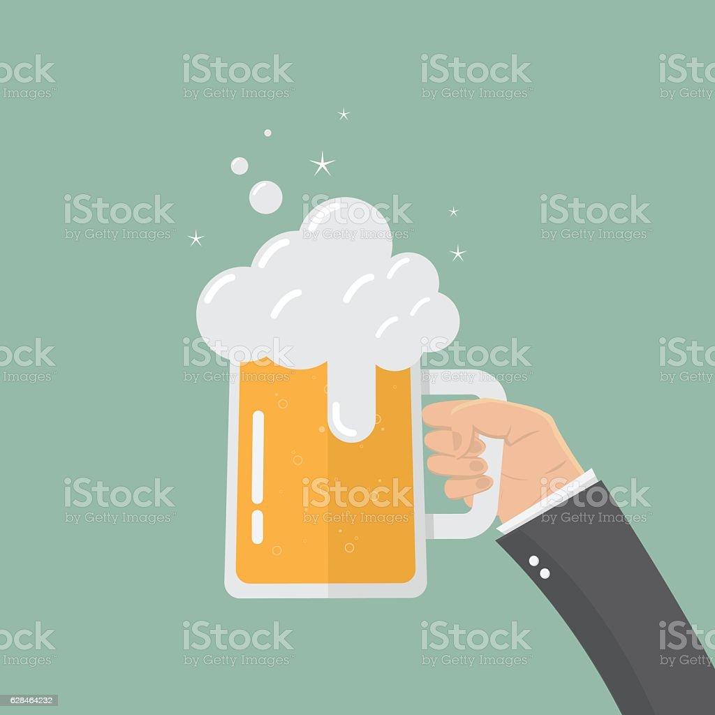 Printhand of businessman holding beer in mug glass – Vektorgrafik