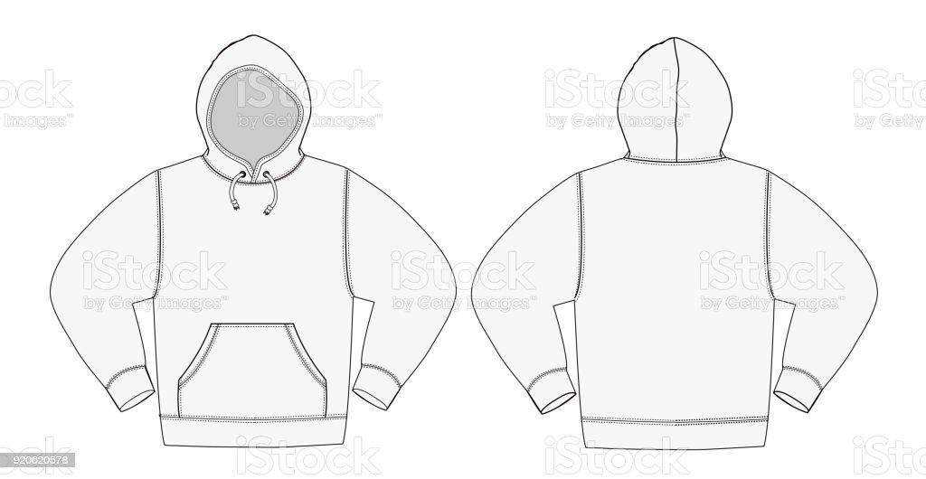PrintIllustration of hoodie (hooded sweatshirt) /white vector art illustration
