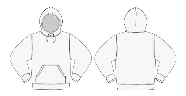 printillustration hoodie (sweatshirt mit kapuze) /white - parkas stock-grafiken, -clipart, -cartoons und -symbole
