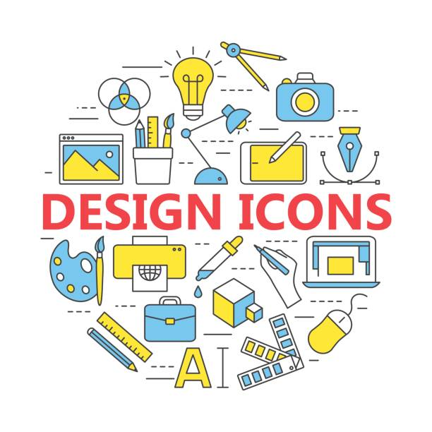 Druck und Grafik-design Ikonen in dünne Konturen. – Vektorgrafik