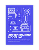 3D Printing and Modeling Concept Line Style Cover Design for Annual Report, Flyer, Brochure.