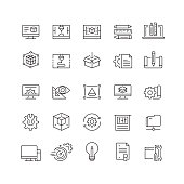 3D Printing and Modeling Related Vector Line Icons