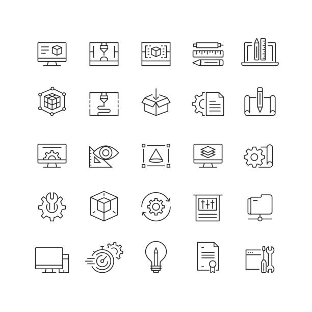 ilustraciones, imágenes clip art, dibujos animados e iconos de stock de iconos de línea vectorial relacionados con la impresión 3d y modelado - manufacturing