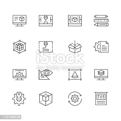 3D Printing and Modeling - Set of Thin Line Vector Icons