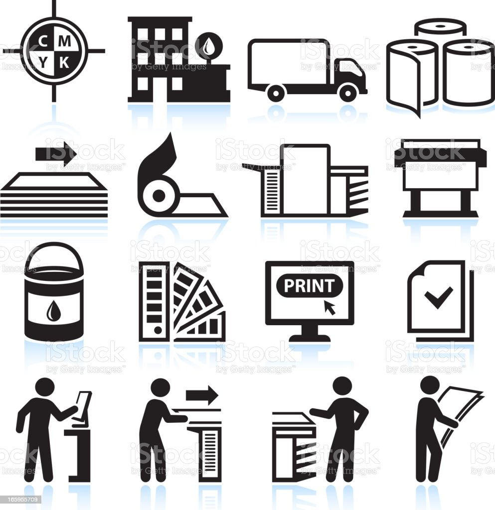 Printing and Publishing Industry black & white vector icon set