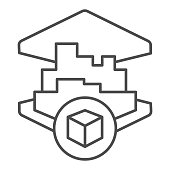3D printing building thin line icon. 3d house printing vector illustration isolated on white. 3d architecture print outline style design, designed for web and app. Eps 10