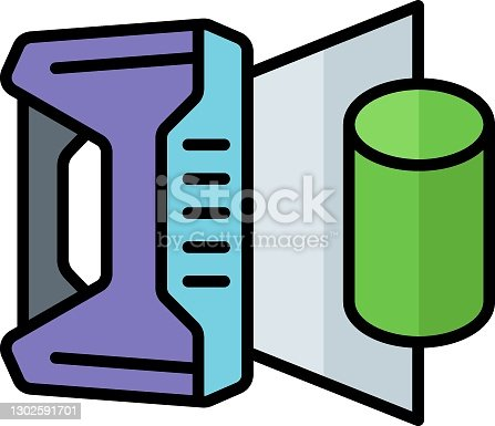 istock 3D printing device vector icon design, additive manufacturing Symbol on white background, print is in progress stock illustration 1302591701