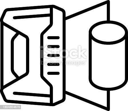 istock 3D printing device vector icon design, additive manufacturing Symbol on white background, print is in progress stock illustration 1304854675