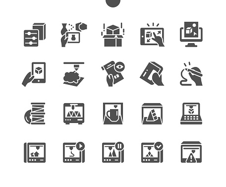 3D Printing Elements. 3D scanner. Equipment, technics, hardware, engineering and device. Visual sketching. Scale modification. Vector Solid Icons. Simple Pictogram