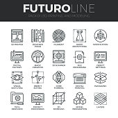 Modern thin line icons set of 3D printing, 3D modeling and scanning technology. Premium quality outline symbol collection. Simple mono linear pictogram pack. Stroke vector symbol concept for web graphics.