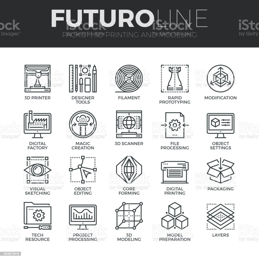 3D Printing Futuro ligne Icons Set - Illustration vectorielle