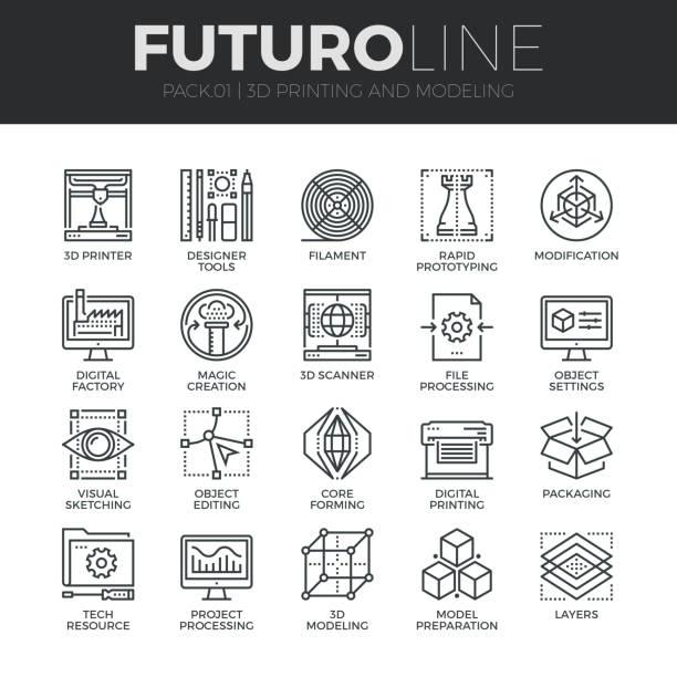 illustrations, cliparts, dessins animés et icônes de 3d printing futuro ligne icons set - infographie industrie manufacture production