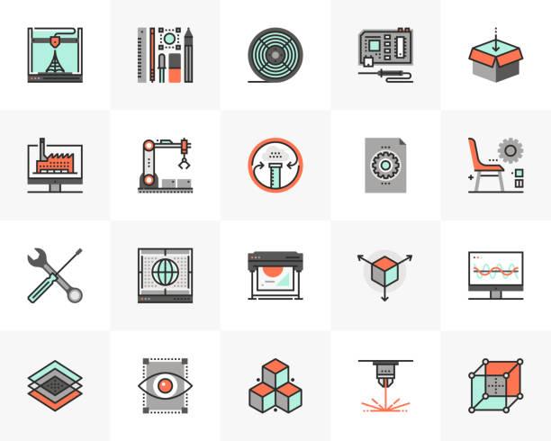 3D Printing Futuro Next Icons Pack vector art illustration