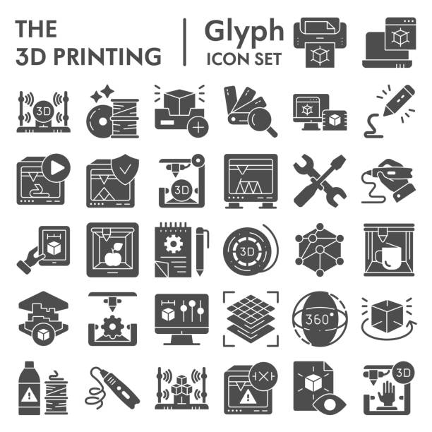 3D printing glyph icon set, 3d print industry symbols collection, vector sketches, logo illustrations, future technology signs solid pictograms package isolated on white background, eps 10. 3D printing glyph icon set, 3d print industry symbols collection, vector sketches, logo illustrations, future technology signs solid pictograms package isolated on white background, eps 10 digital composite stock illustrations