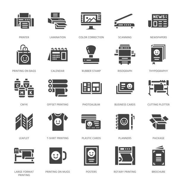 stockillustraties, clipart, cartoons en iconen met afdrukken huis platte glyph pictogrammen. afdrukken winkel apparatuur - printer, scanner, offset machine, plotter, brochure, rubber-stempel. silhouet tekenen voor polygrafie office, typografie - drukken