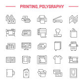 Printing house flat line icons. Print shop equipment - printer, scanner, offset machine, plotter, brochure, rubber stamp. Thin linear signs for polygraphy office, typography