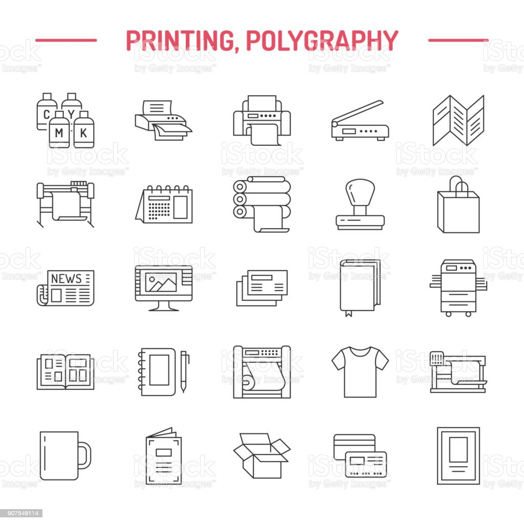 Printing house flat line icons. Print shop equipment - printer, scanner, offset machine, plotter, brochure, rubber stamp. Thin linear signs for polygraphy office, typography vector art illustration