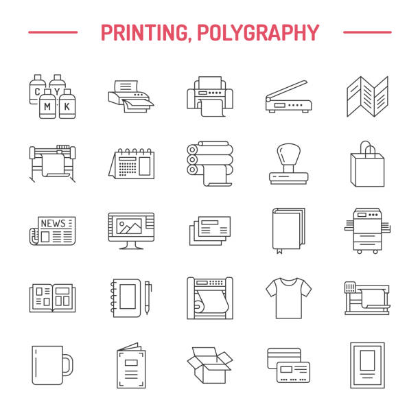 Printing house flat line icons. Print shop equipment - printer, scanner, offset machine, plotter, brochure, rubber stamp. Thin linear signs for polygraphy office, typography Printing house flat line icons. Print shop equipment - printer, scanner, offset machine, plotter, brochure, rubber stamp. Thin linear signs for polygraphy office, typography. printing plant stock illustrations