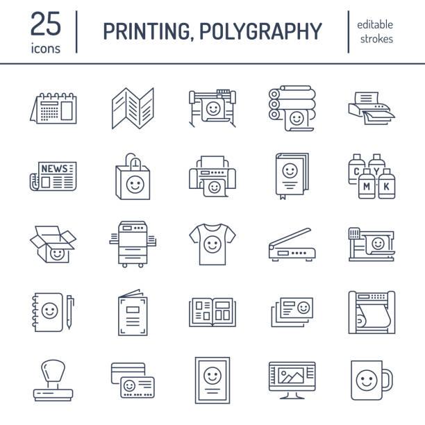 stockillustraties, clipart, cartoons en iconen met afdrukken huis platte lijn pictogrammen. afdrukken winkel apparatuur - printer, scanner, offset machine, plotter, brochure, rubber-stempel. dunne lineaire tekenen voor polygrafie office, typografie - drukken