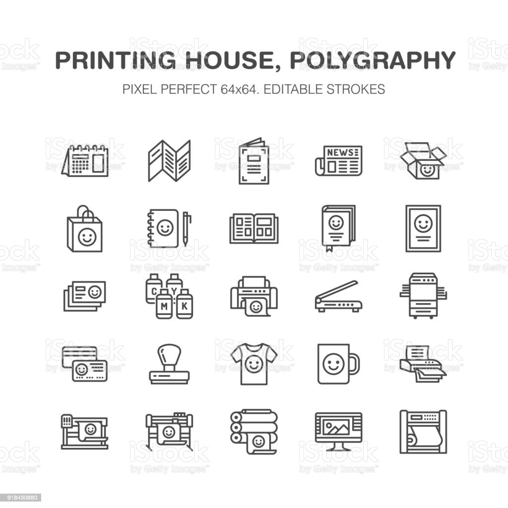 Printing house flat line icons. Print shop equipment - printer, scanner, offset machine, plotter, brochure, rubber stamp. Thin linear signs for polygraphy office, typography. Pixel perfect 64x64 vector art illustration