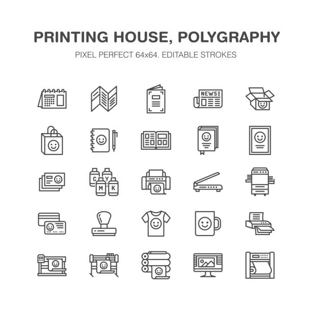 Printing house flat line icons. Print shop equipment - printer, scanner, offset machine, plotter, brochure, rubber stamp. Thin linear signs for polygraphy office, typography. Pixel perfect 64x64 Printing house flat line icons. Print shop equipment - printer, scanner, offset machine, plotter, brochure, rubber stamp. Thin linear signs for polygraphy office, typography. Pixel perfect 64x64. printing plant stock illustrations