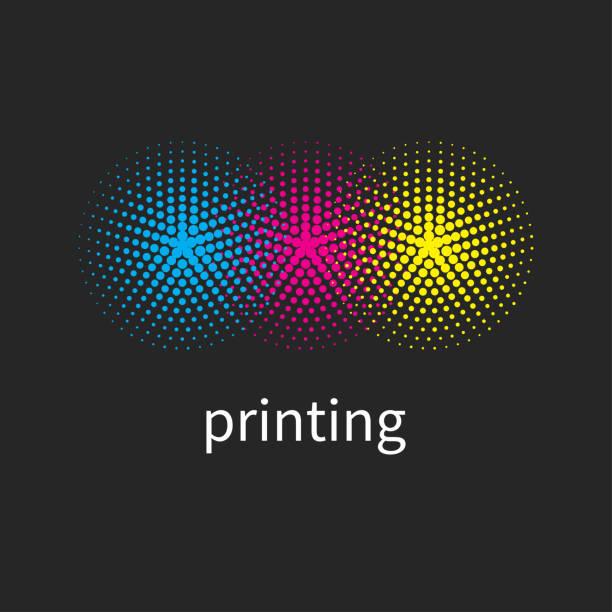 illustrazioni stock, clip art, cartoni animati e icone di tendenza di printing house logo - cmyk