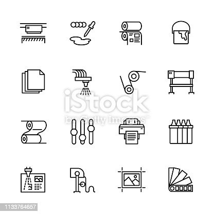 Printing house simple icon set. Contains such symbols printer, scanner, offset machine, plotter, brochure, rubber stamp. Polygraphy office, typography concept