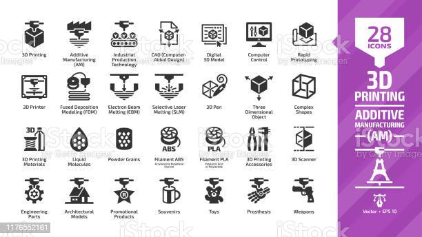 3d Printing Icon Set With Additive Manufacturing Print Technology Glyph Symbols Printer Machine Digital Computer Cad Prototype Plastic Cube Design Model Production Process Engineering Parts Stock Illustration - Download Image Now