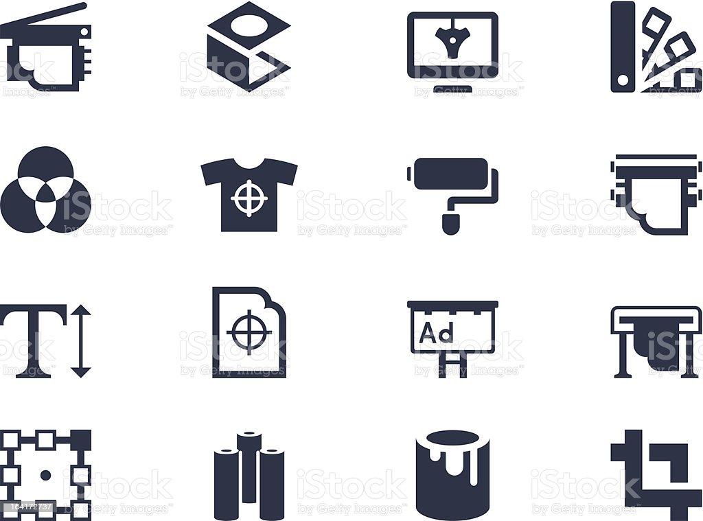 Printing icons royalty-free printing icons stock vector art & more images of agricultural machinery