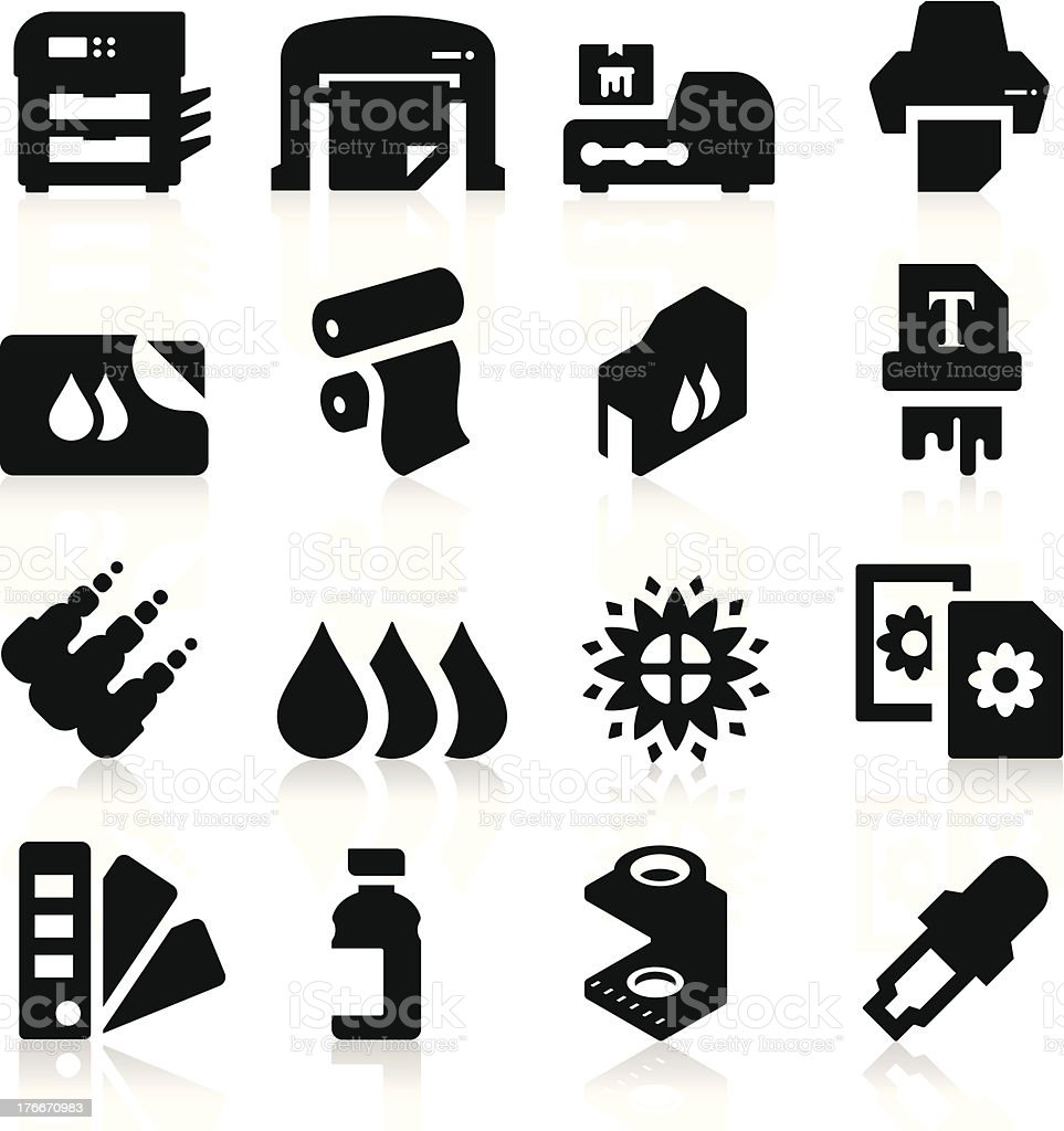 Printing Icons vector art illustration