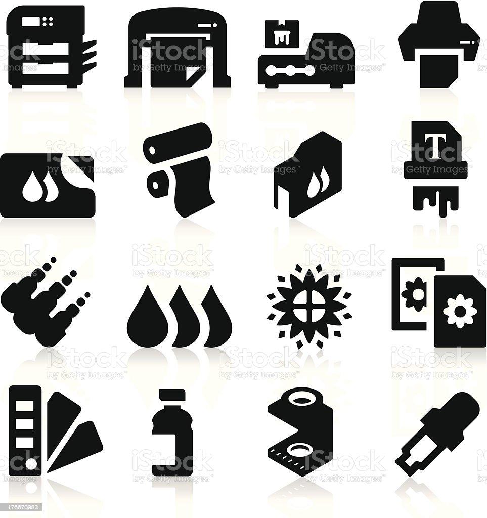 Printing Icons vector art illustration