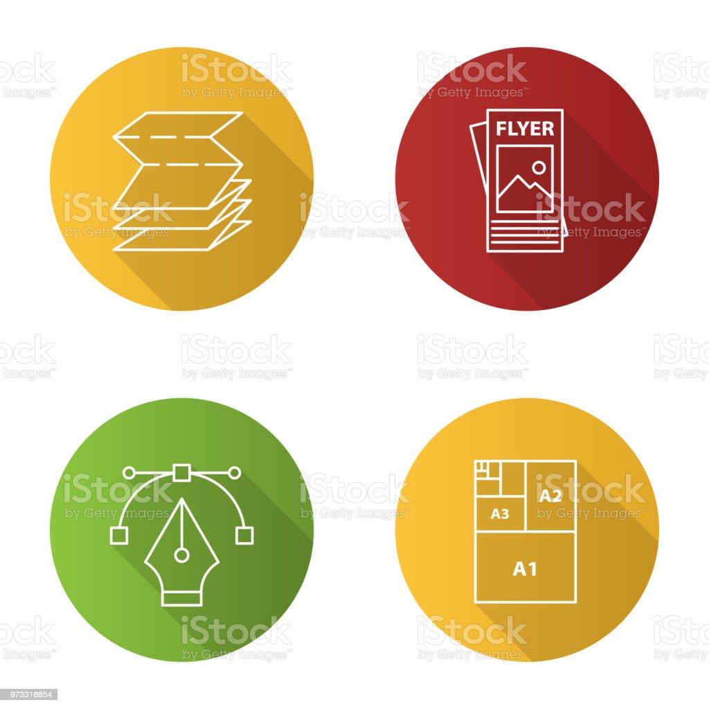 Ícones de impressão - ilustração de arte em vetor