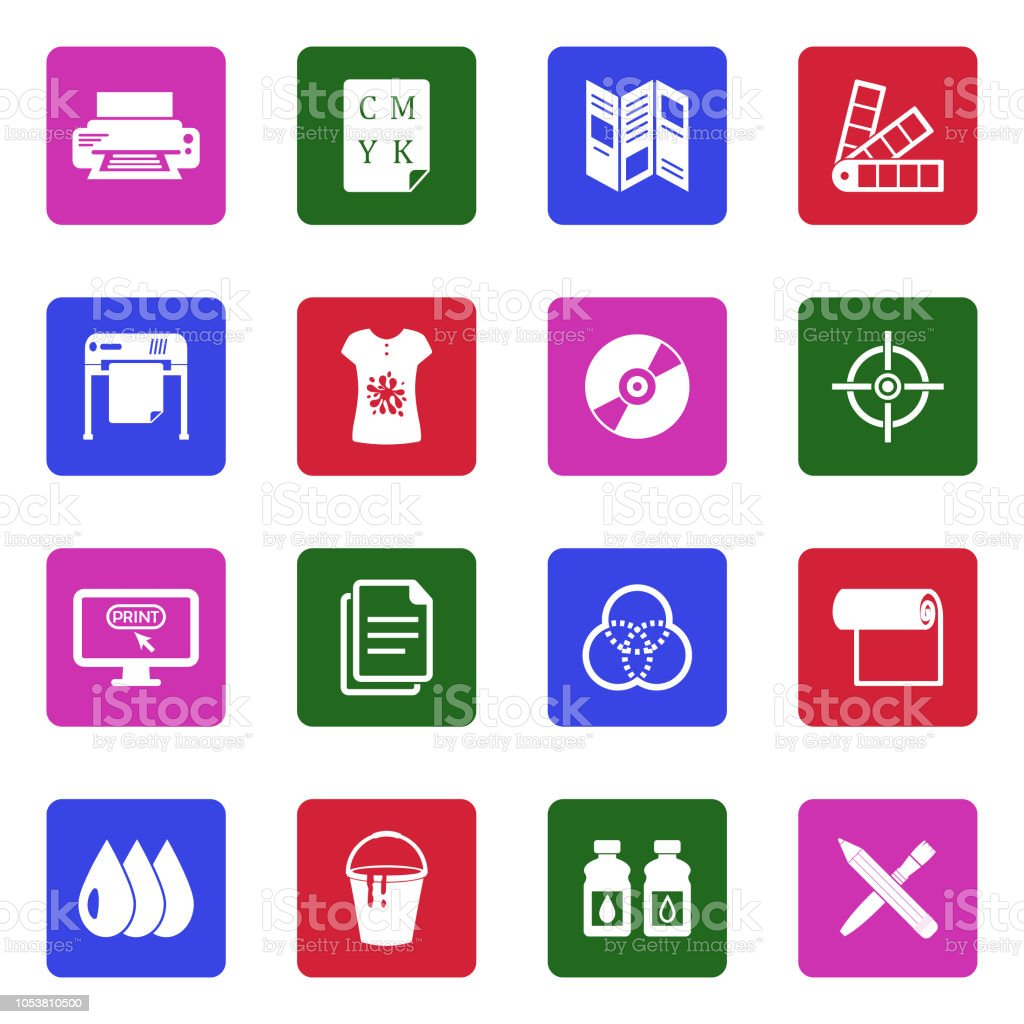 Printing Icons White Flat Design In Square Vector Illustration Stock
