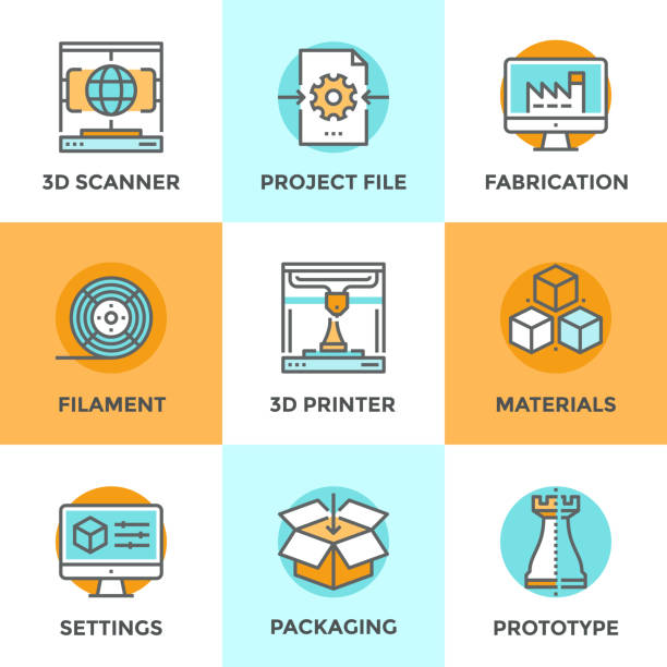 3D Printing line icons set Line icons set with flat design elements of 3D printing technology, modeling and scanning objects for build new models, filament and materials for crafting. Modern vector pictogram collection concept. 3d scanning stock illustrations