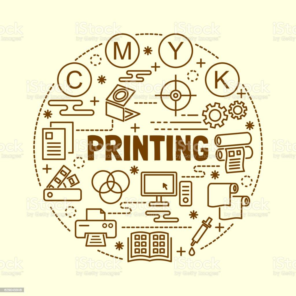 printing minimal thin line icons set vector art illustration