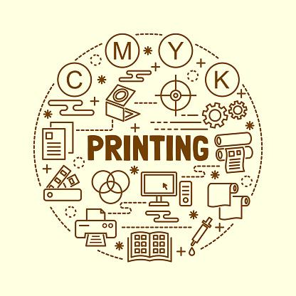 Printing Minimal Thin Line Icons Set Vecteurs libres de droits et plus d'images vectorielles de Affaires