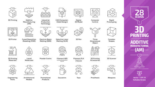 3D printing outline icon set with additive manufacturing (AM) print technology editable stroke line symbols: industrial production tech, computer aided design (CAD), digital model, rapid prototyping. 3D printing outline icon set with additive manufacturing (AM) print technology editable stroke line symbols: industrial production tech, computer aided design (CAD), digital model, rapid prototyping. 3d scanning stock illustrations