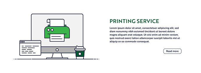 Printing Service Concept with Line Computer Illustration. Minimal Design for Web Banner, Poster, Flyer and Brochure Template with Printer Icon.