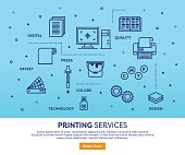Line vector illustration of printing services. Banner/Header Icons.