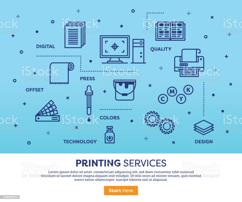 Printing Services Concept vector art illustration
