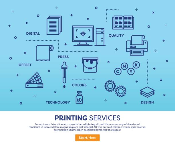 illustrations, cliparts, dessins animés et icônes de notion de services d'impression - presse