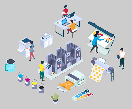 Printing services, vector flat 3d isometric illustration