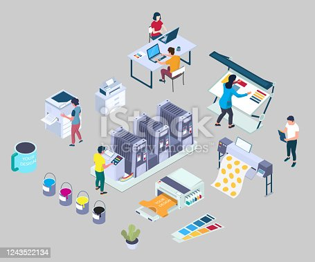 istock Printing services, vector flat 3d isometric illustration 1243522134