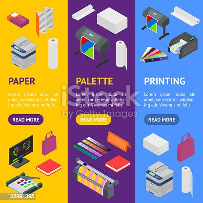 Printing Signs 3d Banner Vecrtical Set Isometric View Include of Paper, Printer, Paint, Palette and Computer. Vector illustration of Icon
