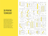3D Printing Technology Related Line Design Style Web Banner Vector Illustration