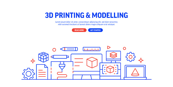 3D Printing Technology Related Process Infographic Design, Linear Style Vector Illustration