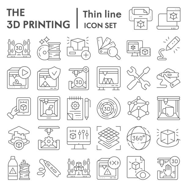 3D printing thin line icon set, 3d print industry symbols collection, vector sketches, logo illustrations, future technology signs linear pictograms package isolated on white background, eps 10. 3D printing thin line icon set, 3d print industry symbols collection, vector sketches, logo illustrations, future technology signs linear pictograms package isolated on white background, eps 10 human limb stock illustrations
