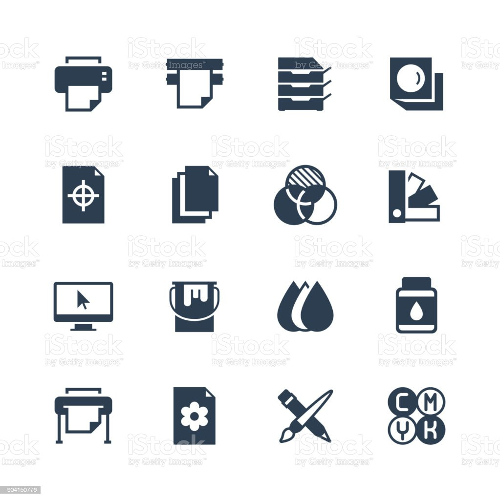 Printing vector icon set in glyph style vector art illustration