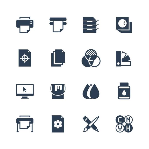 illustrazioni stock, clip art, cartoni animati e icone di tendenza di printing vector icon set in glyph style - cmyk