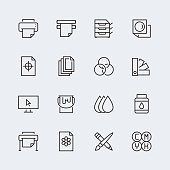 Printing vector icon set in thin line style